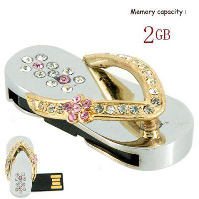2GB Crystal Sandal USB Flash Drive - Golden