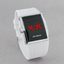 Square Stainless Steel Back Men's Digital Electronic LED Watch Red Light (White)