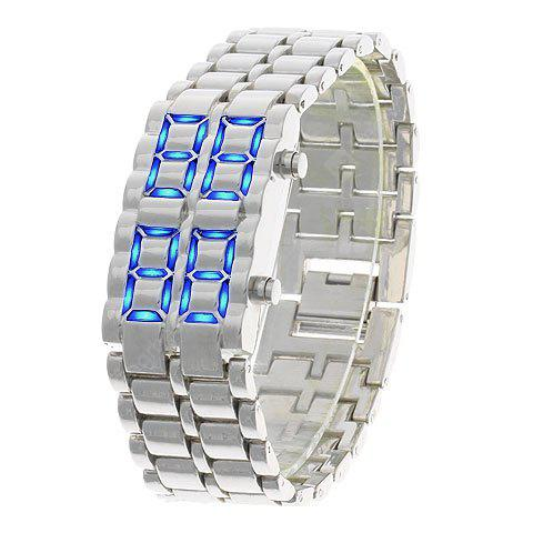 Iron Samurai Blue LED Watch with Steel Band