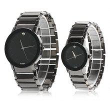 Exquisite Rectangle Case Stainless Steel Band Watch for Couple - 9106 (Black)
