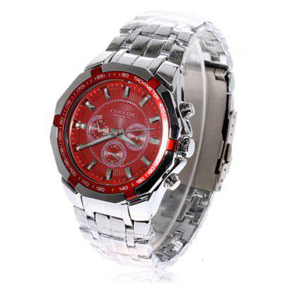 Curren Watch with Three Small Decorating Hands Round Dial and Steel Band Design