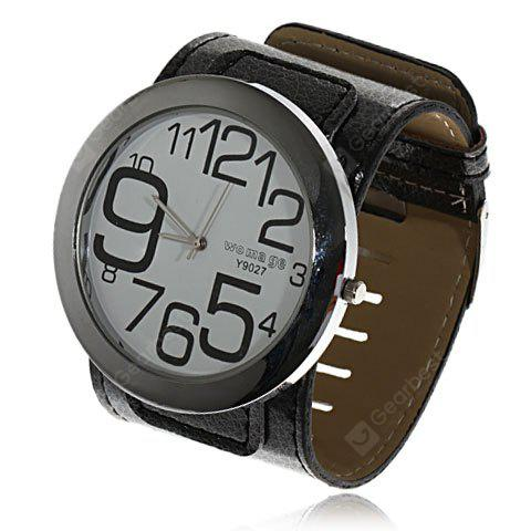 Womage Quartz Round Large Metal Case Wide Leather Band Unisex Watch