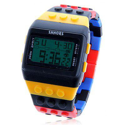 Montre de Sport Etanche LED Verte avec Cadran Rectangle et Bracelet en Silicium