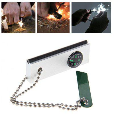 Wonderful Expedition Magnesium Fire Starter with Compass and Fahrenheit Celsius for Camping Survival (Silvery with Green)