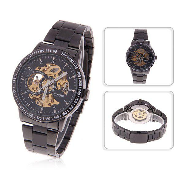 Fashionable Sinobi Men's Automatic Mechanical Round Dial Numerals Hour Marks Steel Band Wrist Watch (Black)