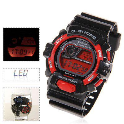 LED Waterproof Watch with Round Dial and Rubber Band