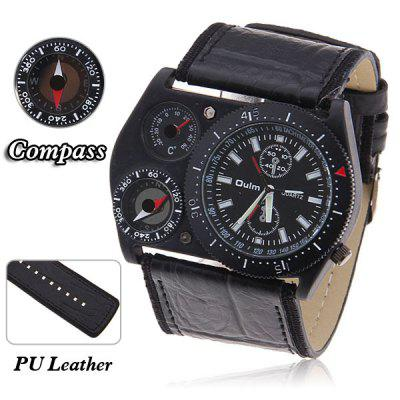 Oulm Men's Quartz Wrist Watch Luminous Japan Movt Square Shaped Black Round Dial Compass & Thermometer Function Black Leather Band