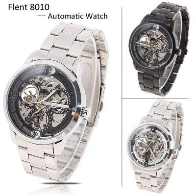 Flent Brand Automatic Wrist Watch Strainless Steel Watchband with Numerals & Strips Indicate Time Black Dial