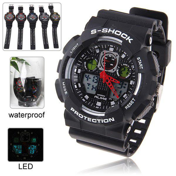 Alike Green LED Waterproof Sport Watch with Double - movt Round Dial and Rubber Band