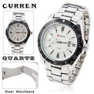 Leisure Style Curren Fashion Quartz Analog Watch With Waterproof White Round Shaped Steel Band