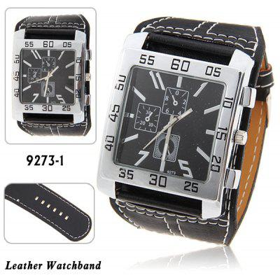 Men's Quartz Wrist Watch with Square Shaped Dial 30mm Wide Leather Band