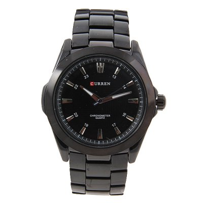 Buy BLACK Leisure Style Curren Men's Wrist Watch with Waterproof Strips Indicate Time Black Dial Steel Band Black for $7.73 in GearBest store
