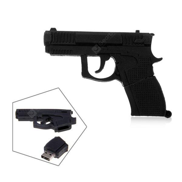 16GB Stylish Gun Shaped U Disk Silicon USB Flash Drive Memory -Black