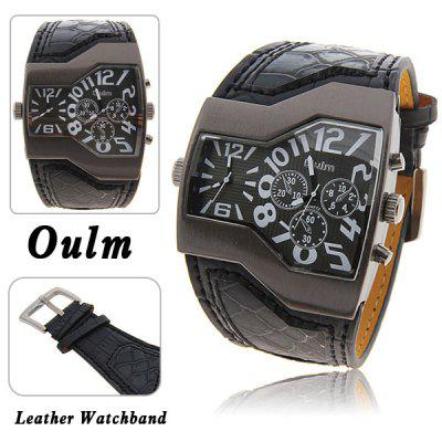 Oulm 1120 Multi-Function Dual Movt Leather Watch