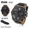 Military Watches with Double Movt Round Dial and Leather Band - BLACK
