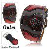 Oulm Men Military Sports Watch Dual Movt Quartz Wristwatch with Leather Band Decorative Sub - dials - RED