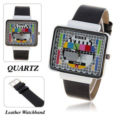Unisex Quartz Rectangle Dial Leather Wrist Watch
