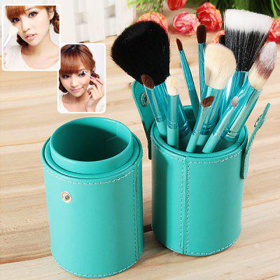 Fashion 12PCS Green Barrel Soft Make-up Brushes (Green)