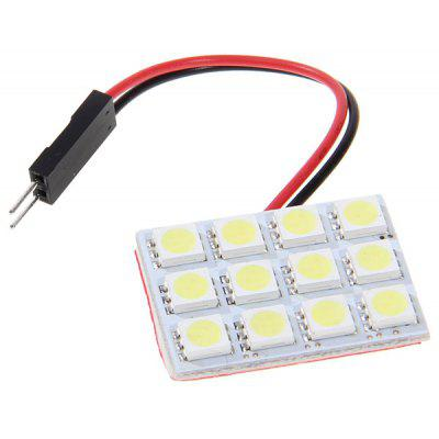 12 x 5050 SMD LED White Light Vehicle Panel Lamp with Double Point Spring/BA9S/T10 Plug