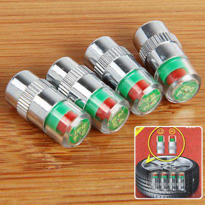 4Pcs Air Pressure Monitor Indicator Alert Valve Stem Cap 2.4Bar