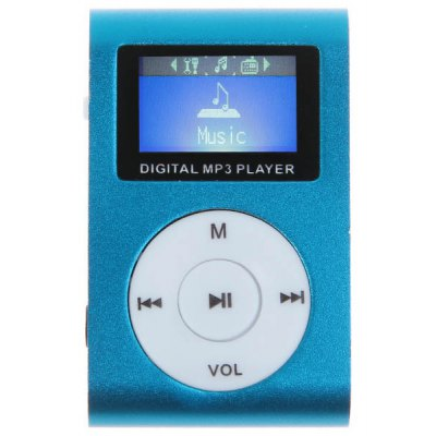 Compact LCD MP3 Music Player with Back Clip, FM Radio Support Micro SD Card