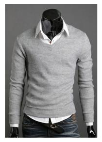 Fashionable Style Thicken V-Neck Solid Color Knitting Sweater For Men