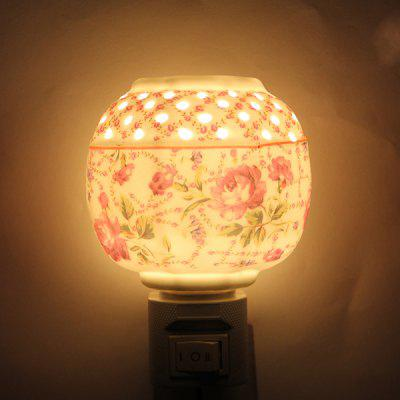 Sweet Plum Flower Pattern Aroma Ceramic Night Light Delicate Bedroom Decoration Valentine Gift