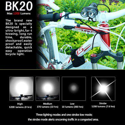 KLARUS BK20 Cree XM - L U2 1200LM 4 - mode Waterproof 2 - LED Bicycle Head Lamp