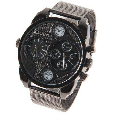Oulm Quartz Watch with Double Movt Strips Indicate Round Dial Steel Watchband for Men (Black)