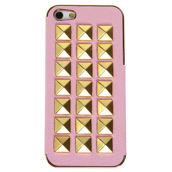 Trendy Nail Style PU Leather and Plastic Hard Case for iPhone 5 - Pink
