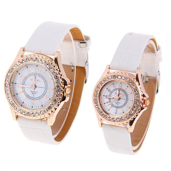 TuHao Golden Watch with Diamonds Round Dial and Leather Band for Couple