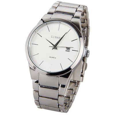Curren Quartz Watch with Strips Indicate Steel Watch Band for Men (White)