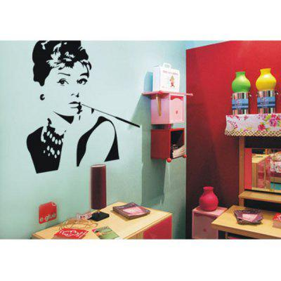 Fashion PVC Wall Sticker Bathroom Sticker Home Decor with Hepburn Pattern