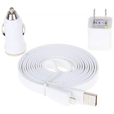 Buy WHITE Special Design US Power Charger + 2M Noodle Style Flat USB Cable + Car Charger for $4.69 in GearBest store