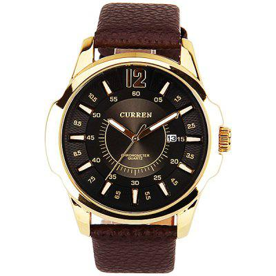 Curren Mens Watch Quartz Round Dial Leather WatchbandMens Watches<br>Curren Mens Watch Quartz Round Dial Leather Watchband<br><br>Available Color: Black<br>Band color: Brown<br>Band material: Leather<br>Brand: Curren<br>Case color: Gold<br>Case material: Metal<br>Clasp type: Buckle<br>Movement type: Quartz watch<br>Package Contents: 1 x Watch<br>Package size (L x W x H): 27.1 x 5.8 x 2 cm<br>Package weight: 0.11 kg<br>Product size (L x W x H): 26.1 x 4.8 x 1 cm<br>Product weight: 0.06 kg<br>Shape of the dial: Round<br>Special features: Calendar<br>Style elements: Big dial<br>The dial diameter: 4.8 cm<br>The dial thickness: 1 cm<br>Watch style: Fashion<br>Watches categories: Male table