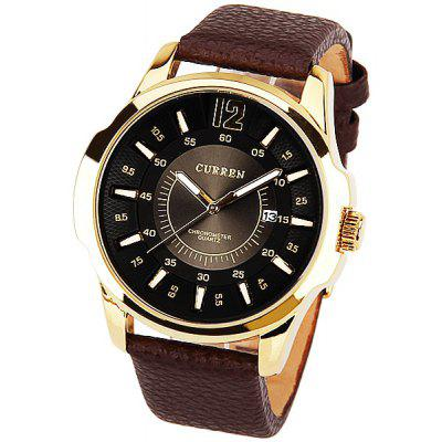 Curren Men's Watch Quartz Round Dial Leather Watchband