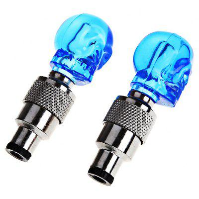 2Pcs Skull Tire Wheel Valve Cap Ultra Bright Blue LED Light