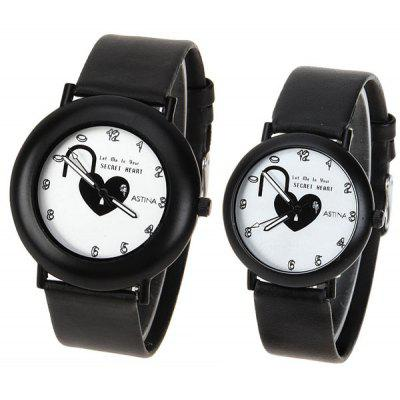 Heart Shape Lock Design Watch with Round Dial and Leather Band