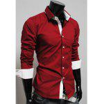Hot Sale New Style Color Splicing Long Sleeve Spring Shirt For Men - RED