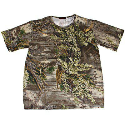 2XL Camouflage High Quality Leaf Pattern Polyester and Spandex Material Short T-shirt - Green