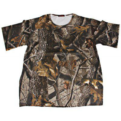 2XL Camouflage High Quality Leaf Pattern Polyester and Spandex Material Short T-shirt - Light Brown