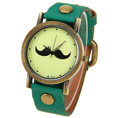 Mustache Patterned Design Cheap Watch with Round Dial and Leather Band
