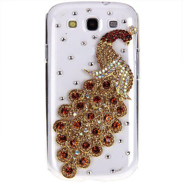 3D Peacock Diamonds Plastic Clear Style Cover Case for Samsung Galaxy S3 i9300