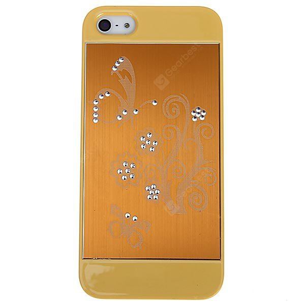 Flower Pattern Rhinestone Plastic Hard Shell Case for iPhone 5