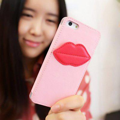 Cool 8thdays Monroe's Kiss Pattern Vertical PU Leather Case Cover for iPhone 5 with Card Slot