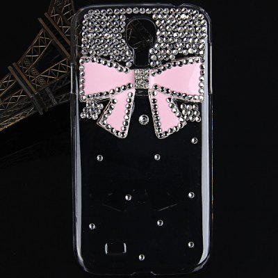 Plastic Clear Case with Rhinestones 3D Pink Bowknot Design for Samsung Galaxy S4 i9500 / i9505  -  Pink Bowknot