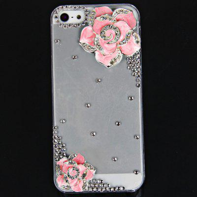 Cool 3D Design Rhinestones Clear Protective Plastic Hard Shell Case for iPhone 5  -  Hawthorn Flower