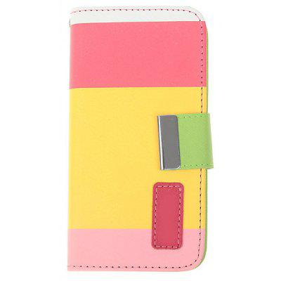 Pink Painting Series Cool PU Leather and Plastic Wallet Stand Case with Card Slots for iPhone 5