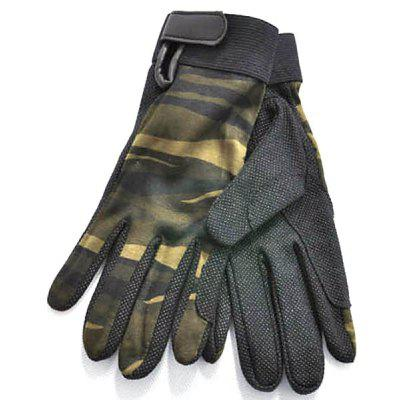 Cool M Size Outdoor Non-slip Riding Gloves Breathable Climbing Gloves for Summer Outdoor Activity - Green Camouflage