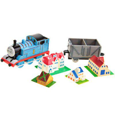 Train Model Toy Desktop Decoration Model with 4 Building Models